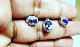 925 Sterling Silver Natural Amethyst And Cz Gemstone Handcrafted Design Women's  image 4