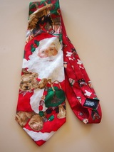 Hallmark Holiday Traditions by MMG Santa Christmas Toys Red Silk Tie  - $11.95
