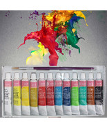 12 Color Professional Acrylic Paint Set Hand Paint Brightly Colored Art ... - $11.99