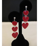 Glossy Red Hearts And Silvertone Dangle Earrings - $6.00