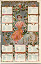 A  1912 New Year Calendar Vintage German Post Card - $15.00