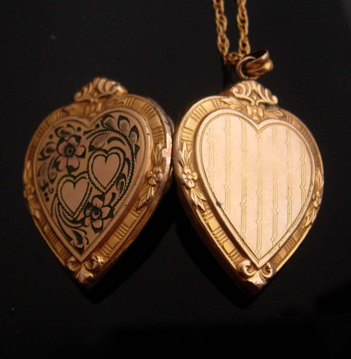Victorian Locket yellow rose 1/20 12kt gold filled heart sweetheart photo locket
