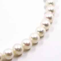Collier, Mousqueton or Blanc 18K, Perles Blanches 7-7.5 mm, Haute Qualité image 2