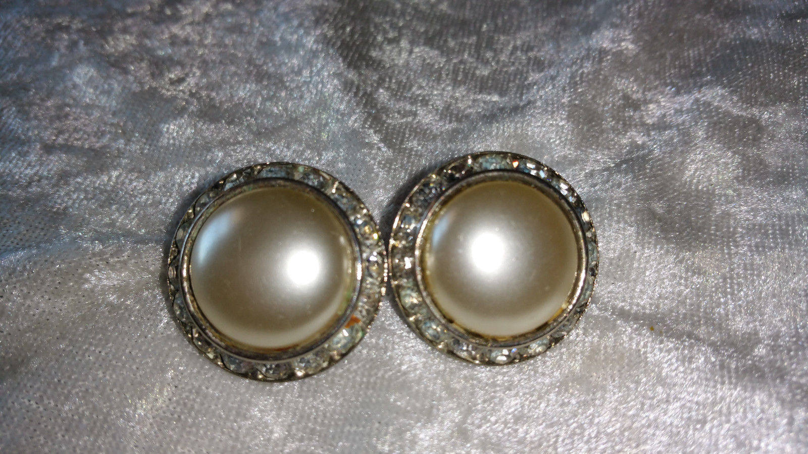 Signed Coro faux pearl and channel set clear rhinestone button earrings screw ba