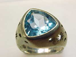 Genuine BLUE TOPAZ Star RING in Sterling Silver - Size 6 - FREE SHIPPING image 2