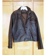 Studio Siena Brown Bomber Leather Jacket Size M L Short - $29.95