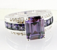 Lab Amethyst and White Topaz ring in .925 size 7 - $27.99