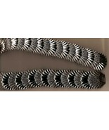 Vintage 80s Silver & Black Shells Stretch Belt - $11.25