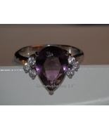 Amethyst Stainless Steel Ring Size 8 - brand new with box - $27.99