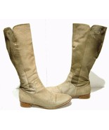 Sambag Women's Boots Pony Hair Tan Knee High Leather Winter Shoes 42/ US... - $93.87