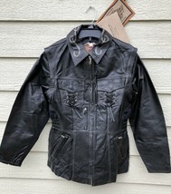 New Harley Davidson Womens Motor Cycle Genuine Leather Chain Jacket - Small - $346.50