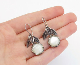 SHABLOOL ISRAEL 925 Silver - Vintage Mother Of Pearl Flower Drop Earring... - $36.65