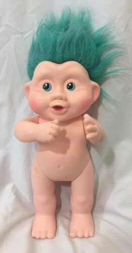 Vintage Magic Trolls Baby Applause 13 Inch Doll Green Hair And Eyes