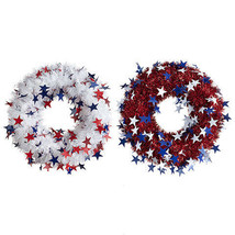 Darice Tinsel & Star Patriotic Wreath: 18 inches, 2 assorted White Red w - $16.99