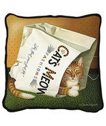 Cat's in Bag Throw Pillow - artist Charles Wysocki - $39.95