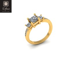 Round Cut And Princess Cut Diamond Ring Solid 14k Yellow Gold Anniversary Ring - $3,999.99