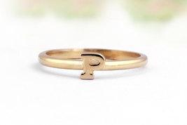 14k rose gold filled ring,pink gold ring,initial ring,letter ring,stacka... - $49.00+