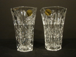 Two Matching 5 Inch Crystal d' Arques-Durand Sully Pattern Bud Vases - $11.99