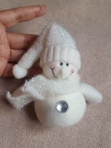 WHITE SNOWMAN * PLUSH * Christmas tree Ornament holiday decoration pre-o... - $14.92