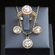Off Wedding Jewelry Sets Brides Sterling Silver Set Gold Color Stud Earrings Rin - $30.44