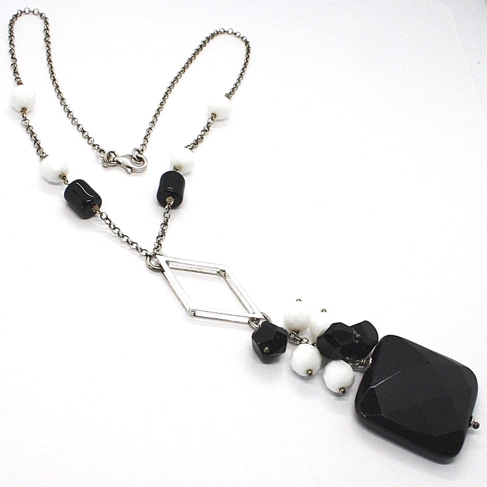 SILVER 925 NECKLACE, ONYX BLACK, PENDANT BUNCH, 17 11/16in, CHAIN ROLO'