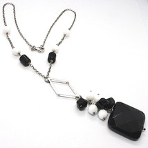 SILVER 925 NECKLACE, ONYX BLACK, PENDANT BUNCH, 17 11/16in, CHAIN ROLO' image 1