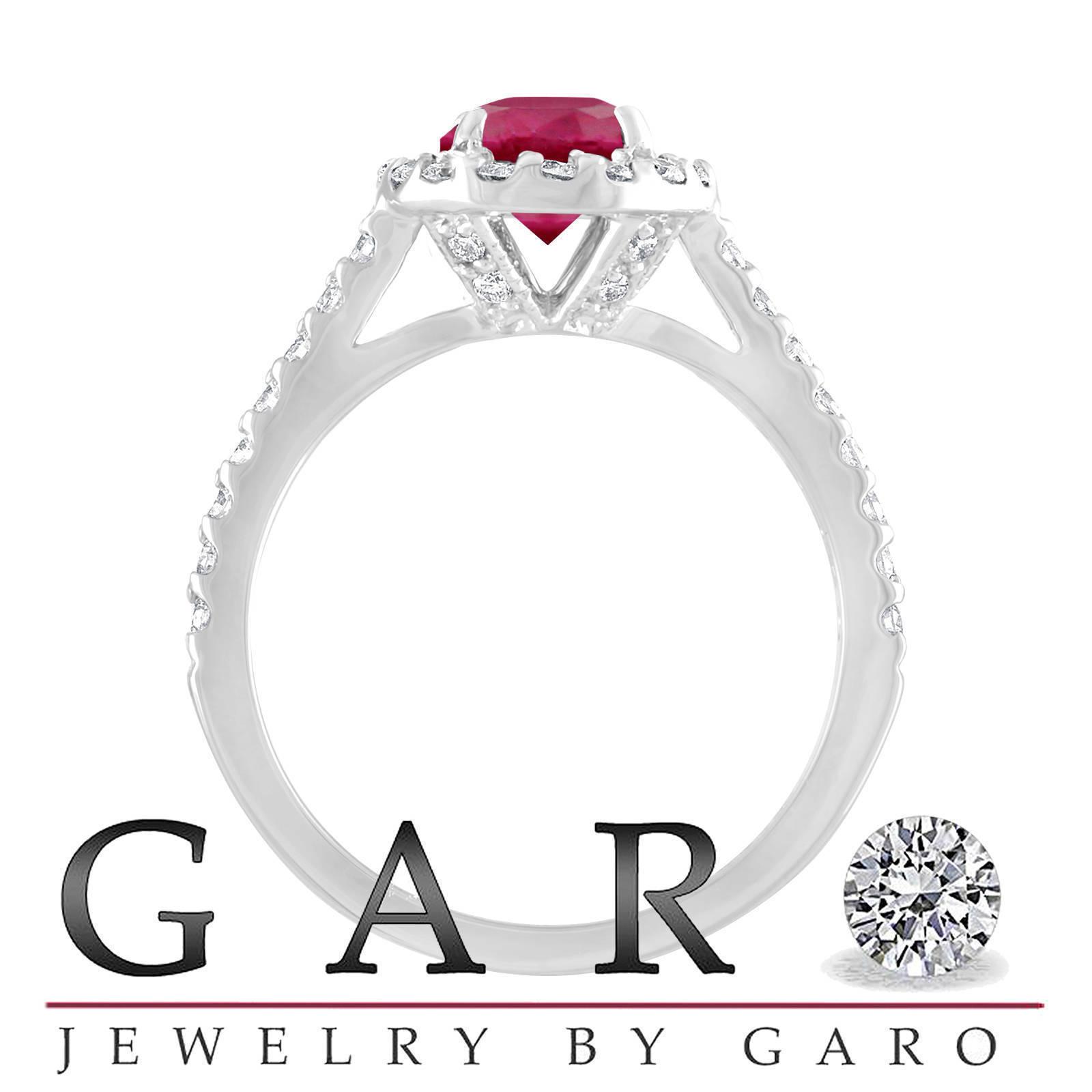 Ruby Engagement Ring Set, Cushion Cut Bridal Rings, 1.86 Carat 14K White Gold