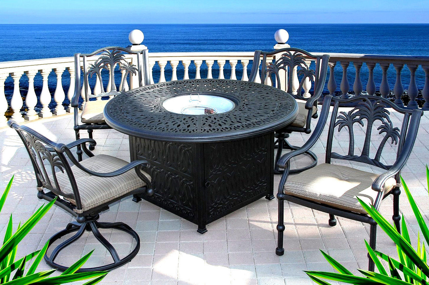 Dining table with fire pit in middle 5 piece patio cast aluminum furniture set