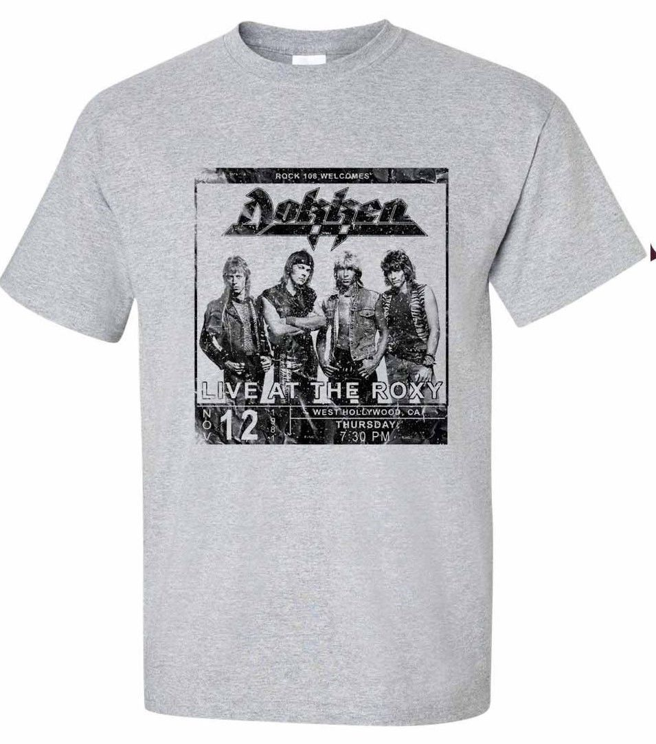 Dokken breaking the chains heavy metal gray graphic tee