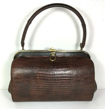 Bellestone True Vintage Brown Reptile Print Leather Handbag Coin Purse Comb - $77.59