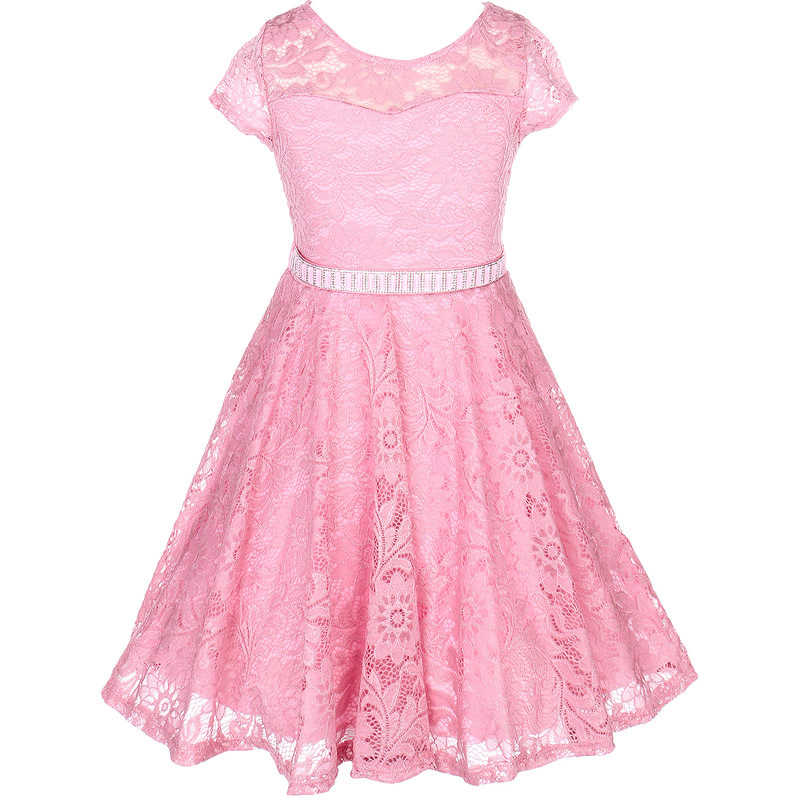 Rose Short Sleeve Floral Pattern Lace Flower Girl Dress Rhinestones Belt