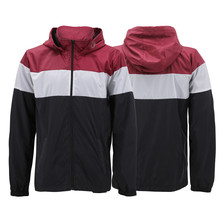 Men's Red Label Hooded Nylon Zip Up Lightweight Athletic Windbreaker Rain Jacket