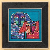 Ol' Blue and Red dog linen cross stitch kit Laurel Burch Mill Hill - $16.20