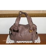 B. Makowsky Satchel Taupe Leather Handbag Purse Tote Bag Shoulder Bag  - $34.97