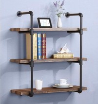 Rustic 3-Tier Pipe Wall Shelf Industrial Home Office Stylish Storage Boo... - $137.43