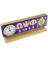 OMEGA PSI PHI FRATERNITY Wood Desktop Clock Domed Desktop Clock - $53.90