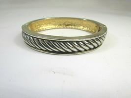 Vintage Hinged Twisted Rope Bangle Bracelet Silver Gold Tone 48498  - $11.87