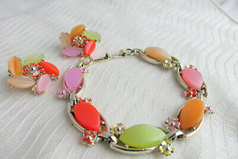 Vintage Thermoset Leaf Tiles Bracelet & Earrings Orange Peach Sage Pink Tan - $26.99