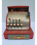 Vintage Tom Thumb Cash Register Tin Metal Toy Western Red  - $21.99