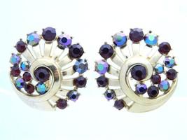 Vtg 1950s Crown Trifari Gold Tone Red Ab Rhinestone Clip Earrings - $49.50