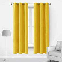 Deconovo Yellow Blackout Curtains for Bedroom Set of 2 Sound Proof Therm... - $42.79+