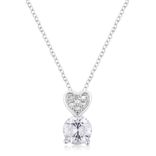 8mm Clear Cubic Zirconia Fashion Heart Pendant