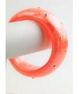 ESTATE VINTAGE Jewelry WIDE ORANGE MOONGLOW PLASTIC RHINESTONE BANGLE BR... - $25.00