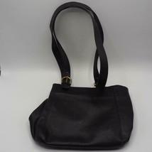 Vintage Coach Buckle Black Leather Brass Tone Hardware Bucket Sh. Bag #4157 - $32.66