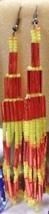 Native American Beaded Dance Regalia Earrings Glass Bugle Orange Yellow New - $39.99