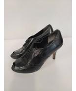 Cole Haan Womens Ankle Bootie Size 7.5 B Black Leather Peep Toe Kitten Heel - $45.88