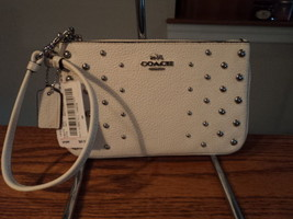 Authentic Coach 57862 Ombre Rivets Chalk Creme Pebbled Leather Wristlet ... - $59.39
