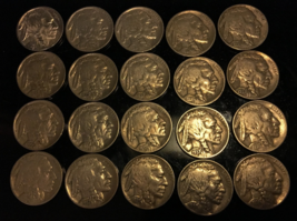 20 Buffalo Nickels in average circulated condition with all readable dates. - $23.00