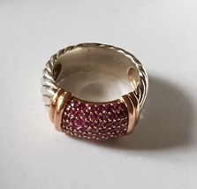 David Yurman Metro Pink Sapphire Candy Wide Ring With 18k Gold - $604.75