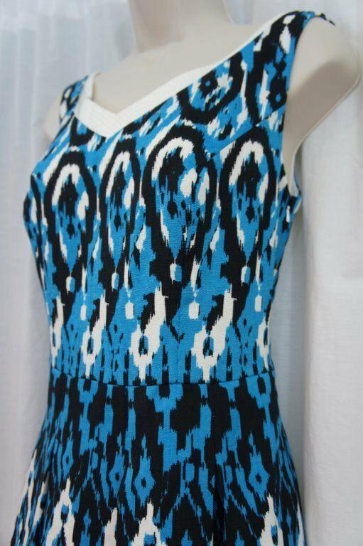 Anne Klein Dress Sz 12 Capri Blue Multi Sleeveless V-Neck Swing Career Cocktail image 8
